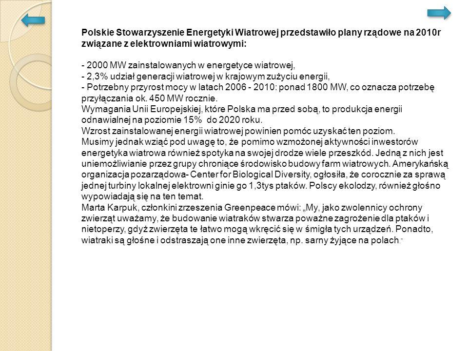 Polskie Stowarzyszenie Energetyki Wiatrowej przedstawiło plany rządowe na 2010r związane z elektrowniami wiatrowymi: