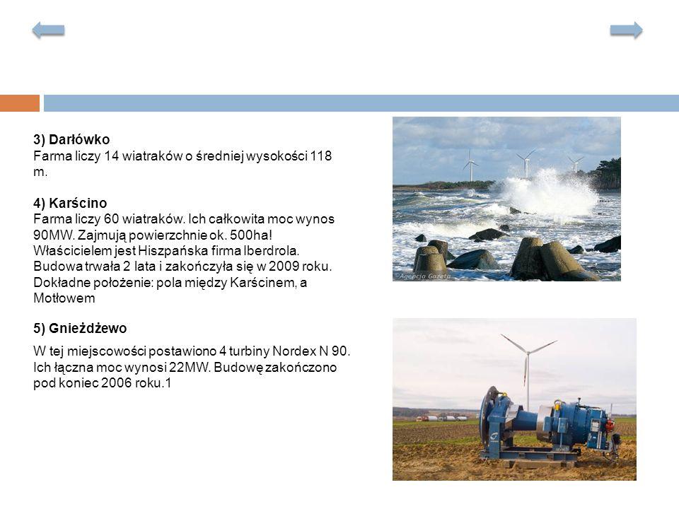 3) Darłówko Farma liczy 14 wiatraków o średniej wysokości 118 m. 4) Karścino.