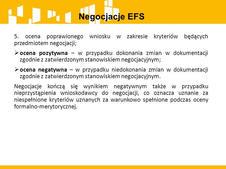 Negocjacje EFS 5. ocena poprawionego wniosku w zakresie kryteriów będących przedmiotem negocjacji;