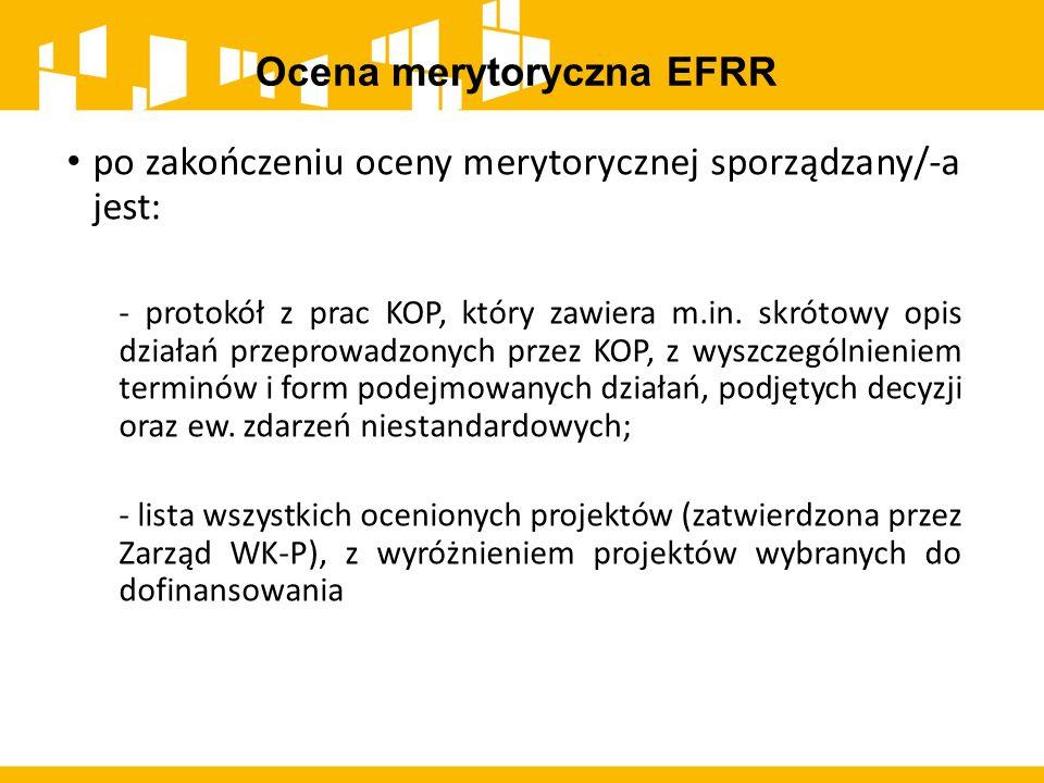 Ocena merytoryczna EFRR