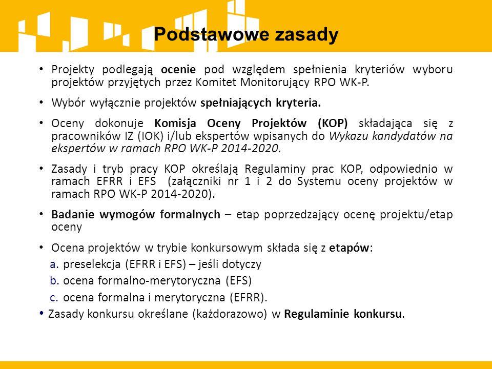Podstawowe zasady Projekty podlegają ocenie pod względem spełnienia kryteriów wyboru projektów przyjętych przez Komitet Monitorujący RPO WK-P.