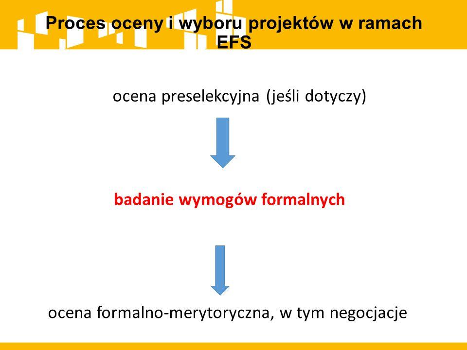 Proces oceny i wyboru projektów w ramach EFS