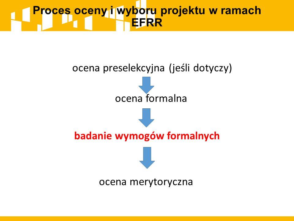 Proces oceny i wyboru projektu w ramach EFRR