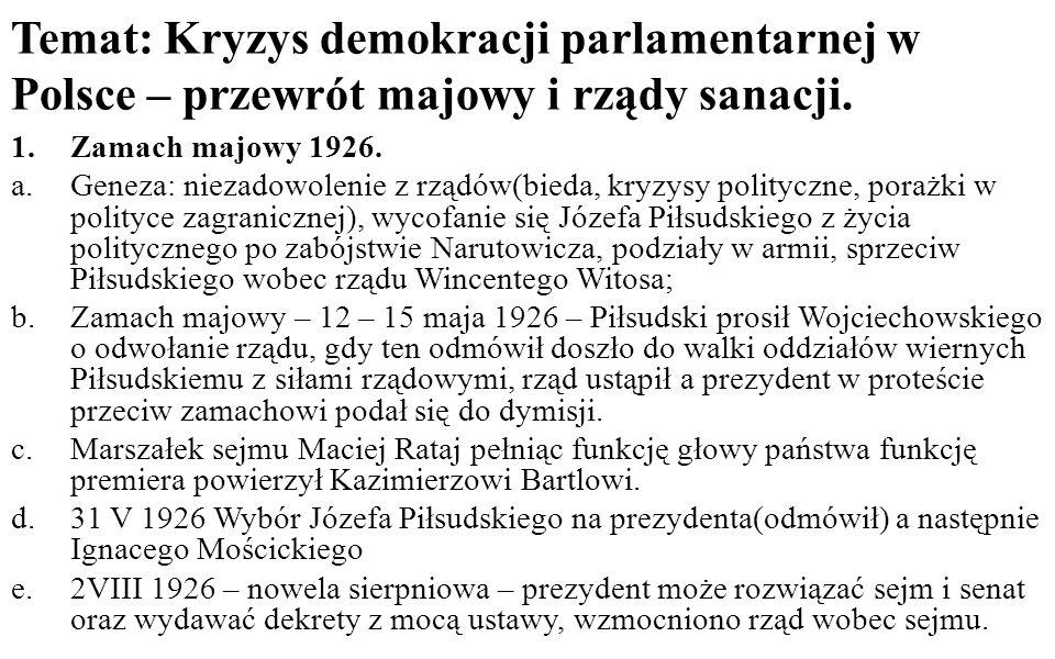 Temat: Kryzys demokracji parlamentarnej w Polsce – przewrót majowy i rządy sanacji.