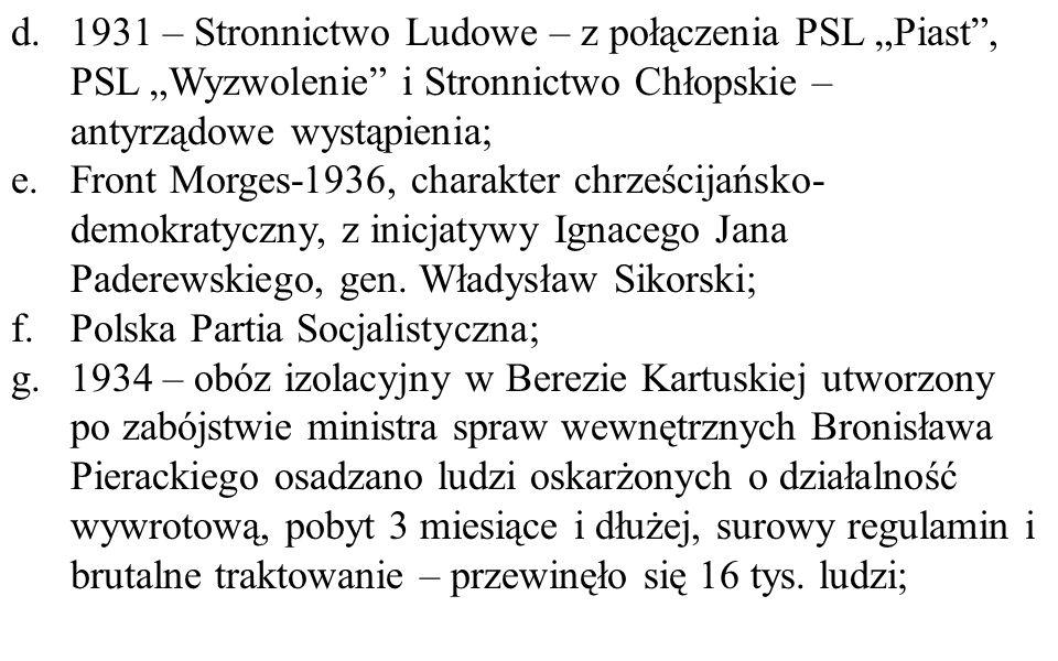 """d. 1931 – Stronnictwo Ludowe – z połączenia PSL """"Piast , PSL """"Wyzwolenie i Stronnictwo Chłopskie – antyrządowe wystąpienia;"""