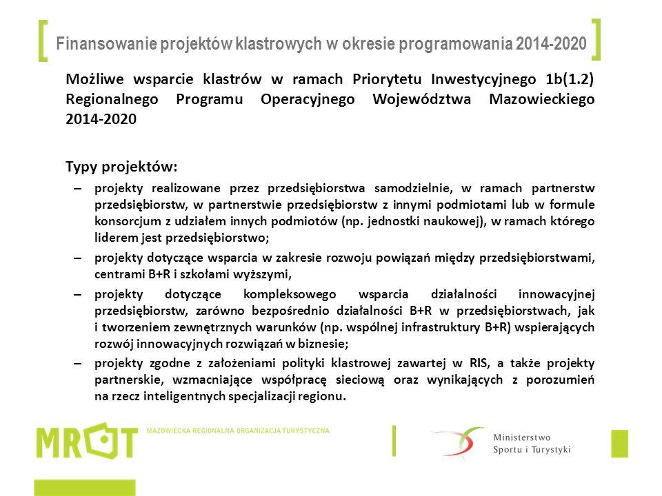 Finansowanie projektów klastrowych w okresie programowania 2014-2020