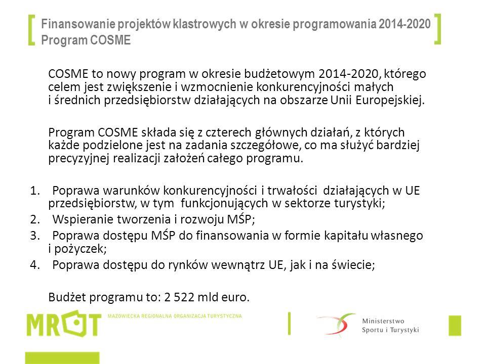 Finansowanie projektów klastrowych w okresie programowania 2014-2020 Program COSME