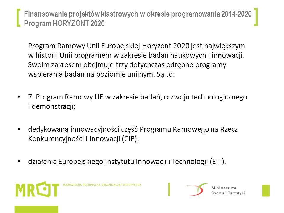 Finansowanie projektów klastrowych w okresie programowania 2014-2020 Program HORYZONT 2020