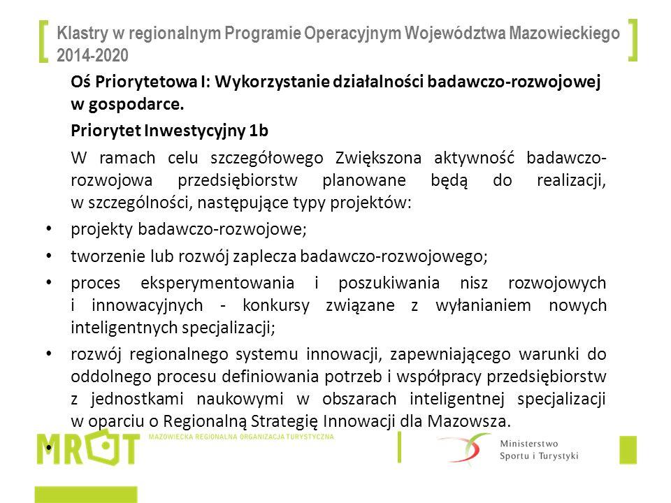 Klastry w regionalnym Programie Operacyjnym Województwa Mazowieckiego 2014-2020