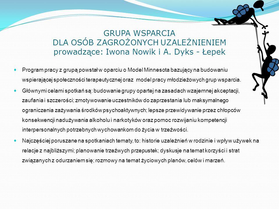 GRUPA WSPARCIA DLA OSÓB ZAGROŻONYCH UZALEŻNIENIEM prowadzące: Iwona Nowik i A. Dyks - Łepek