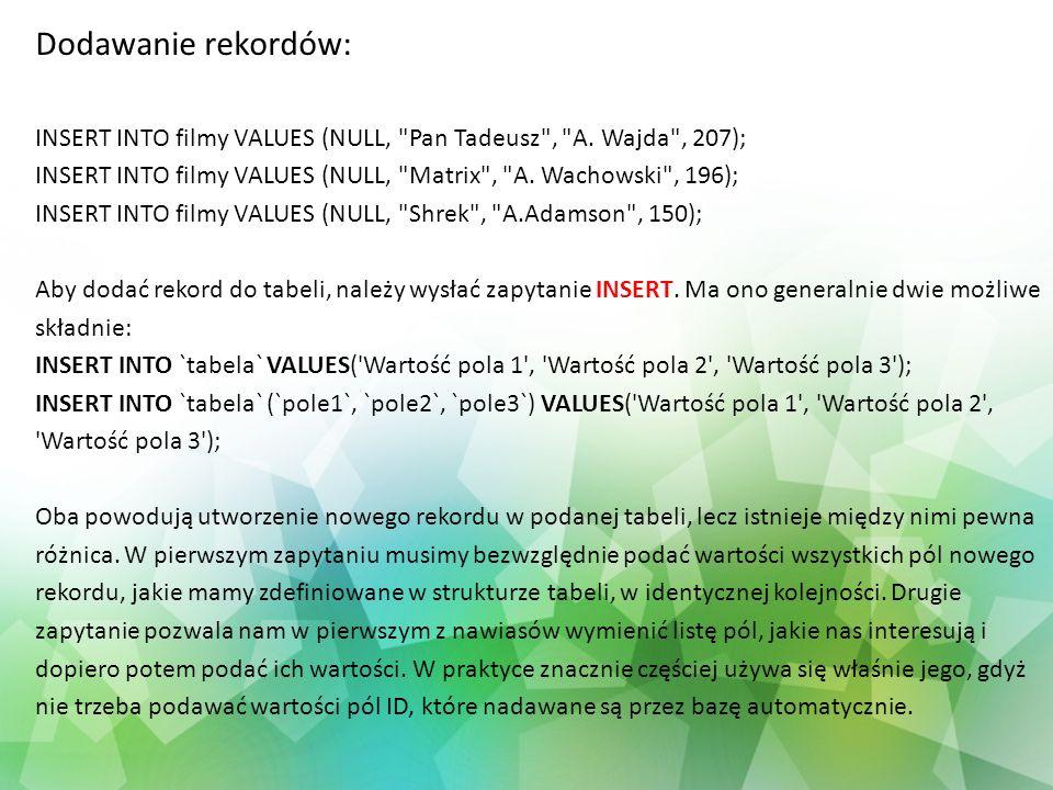 Dodawanie rekordów: INSERT INTO filmy VALUES (NULL, Pan Tadeusz , A. Wajda , 207); INSERT INTO filmy VALUES (NULL, Matrix , A. Wachowski , 196);