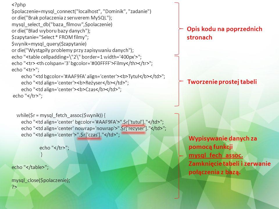 Opis kodu na poprzednich stronach