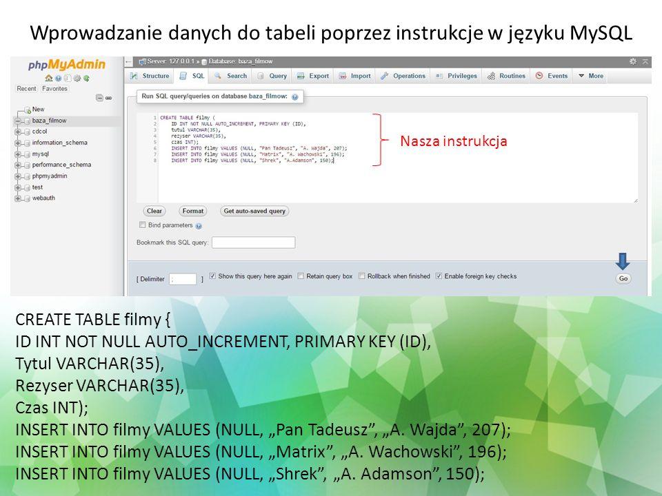 Wprowadzanie danych do tabeli poprzez instrukcje w języku MySQL