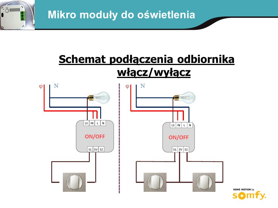 Schemat podłączenia odbiornika włącz/wyłącz