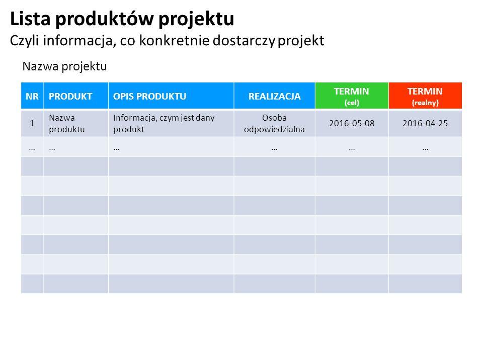 Lista produktów projektu