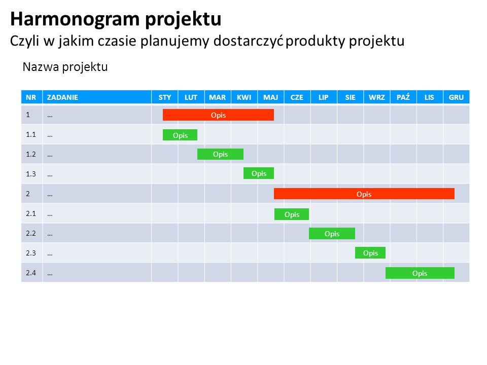 Harmonogram projektu Czyli w jakim czasie planujemy dostarczyć produkty projektu. Nazwa projektu. NR.