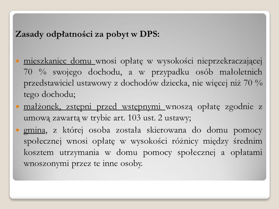 Zasady odpłatności za pobyt w DPS: