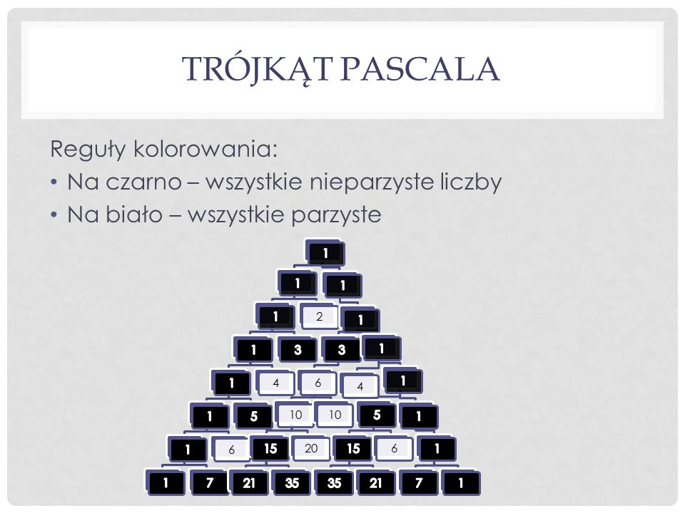 Trójkąt Pascala Reguły kolorowania:
