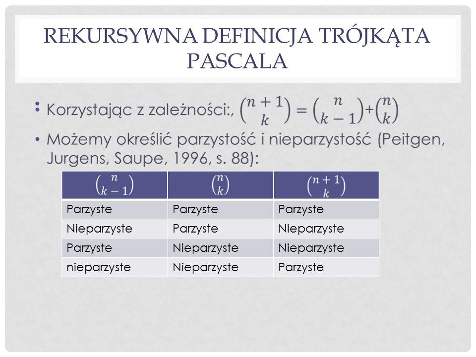 Rekursywna definicja trójkąta Pascala