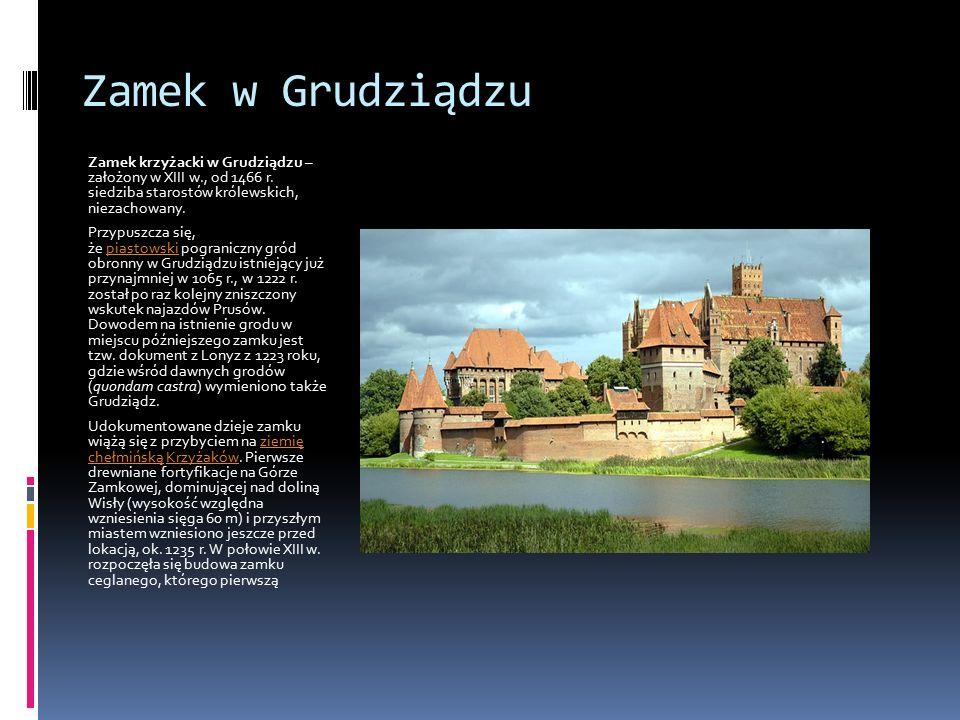 Zamek w Grudziądzu Zamek krzyżacki w Grudziądzu – założony w XIII w., od 1466 r. siedziba starostów królewskich, niezachowany.