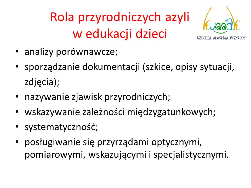 Rola przyrodniczych azyli w edukacji dzieci