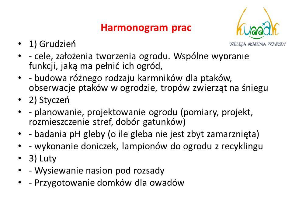 Harmonogram prac 1) Grudzień