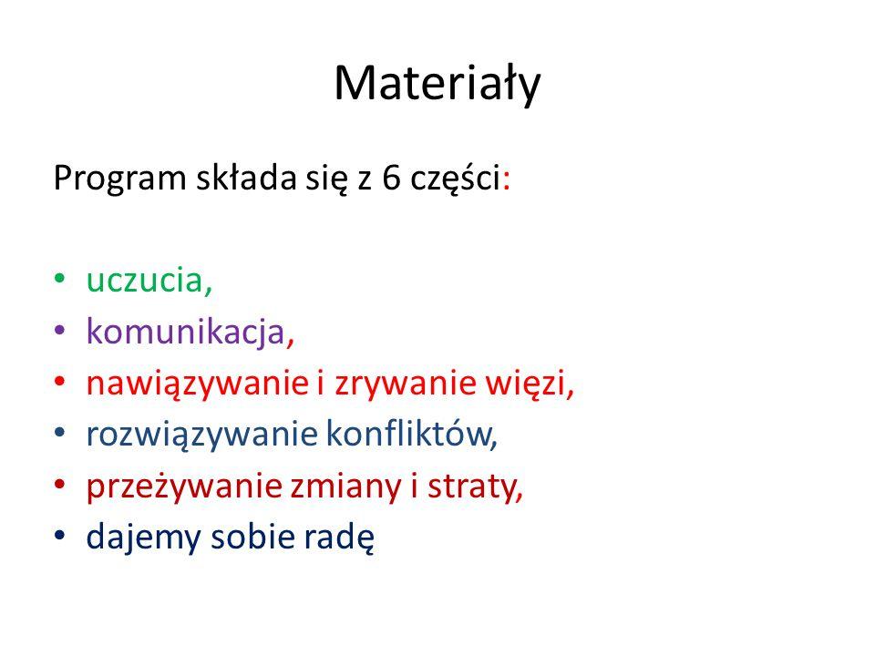 Materiały Program składa się z 6 części: uczucia, komunikacja,