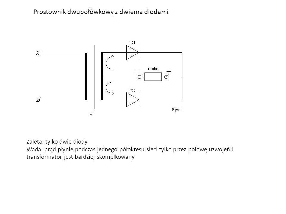 Prostownik dwupołówkowy z dwiema diodami