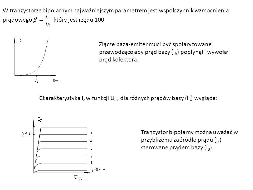 W tranzystorze bipolarnym najważniejszym parametrem jest współczynnik wzmocnienia prądowego 𝛽= 𝐼 𝐾 𝐼 𝐵 który jest rzędu 100