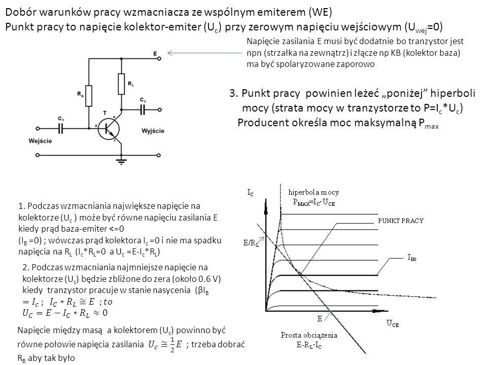Dobór warunków pracy wzmacniacza ze wspólnym emiterem (WE)