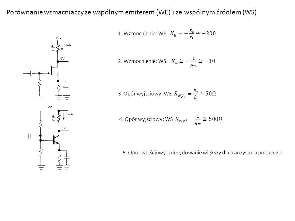 Porównanie wzmacniaczy ze wspólnym emiterem (WE) i ze wspólnym źródłem (WS)
