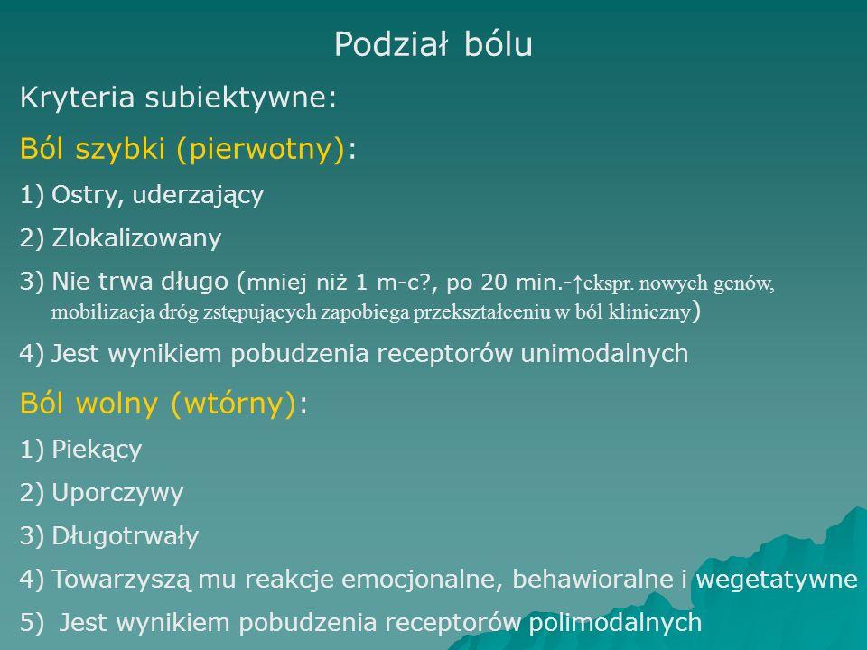 Podział bólu Kryteria subiektywne: Ból szybki (pierwotny):