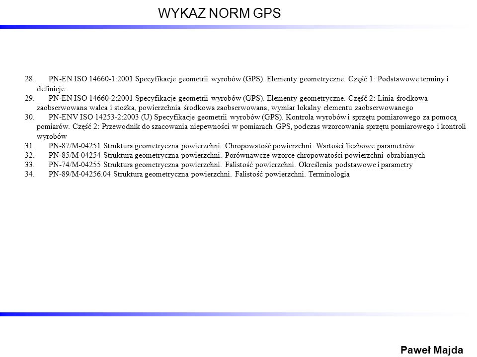 WYKAZ NORM GPS Paweł Majda