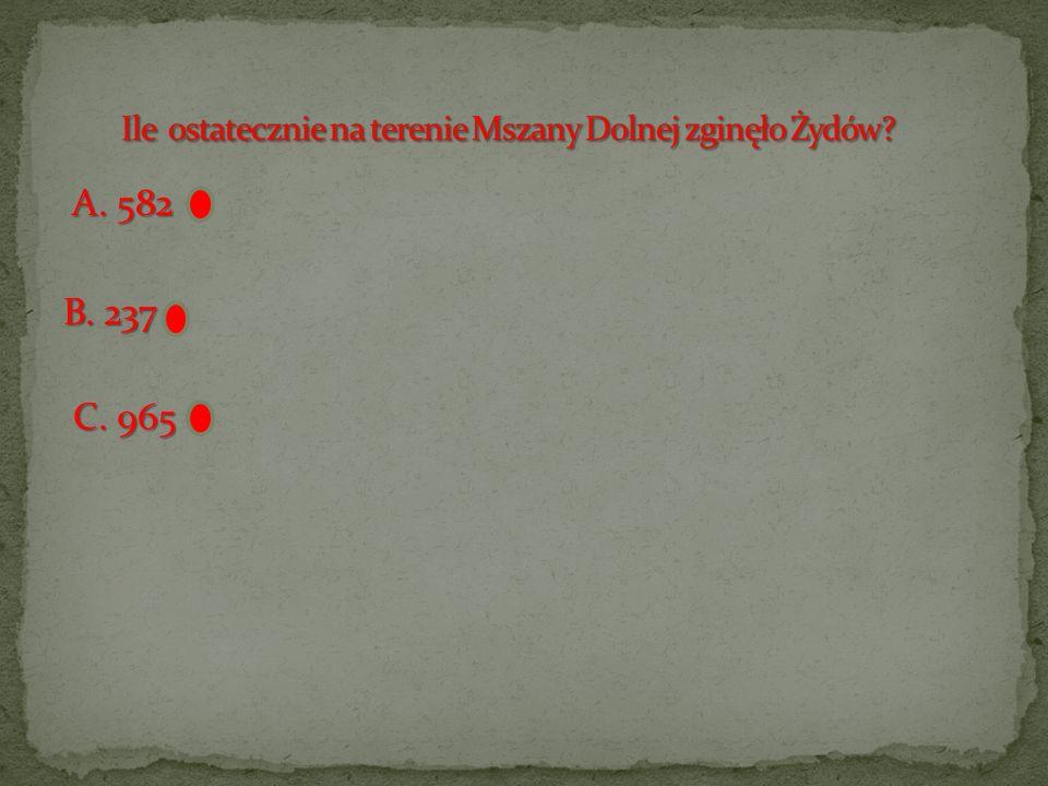 Ile ostatecznie na terenie Mszany Dolnej zginęło Żydów