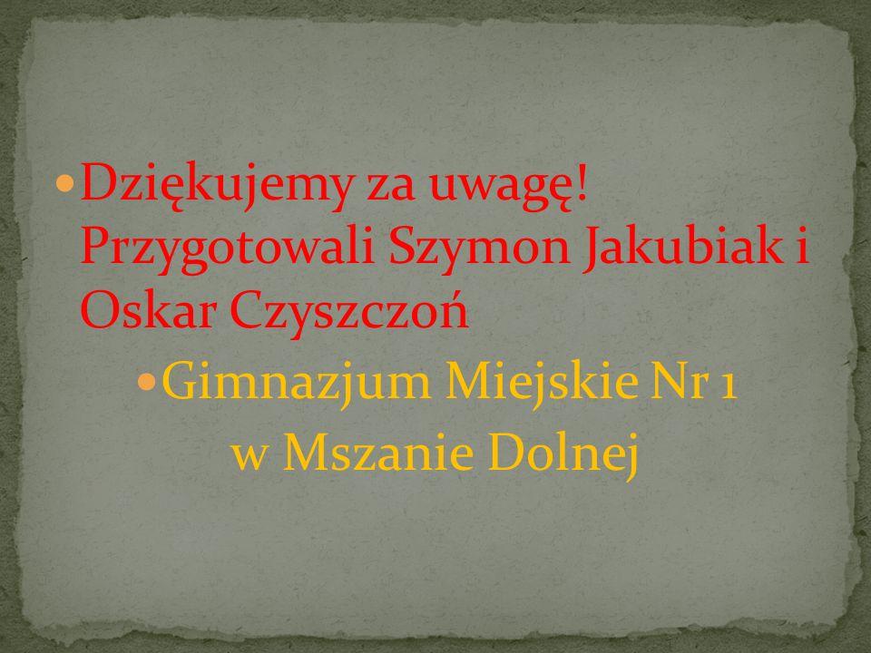 Dziękujemy za uwagę! Przygotowali Szymon Jakubiak i Oskar Czyszczoń