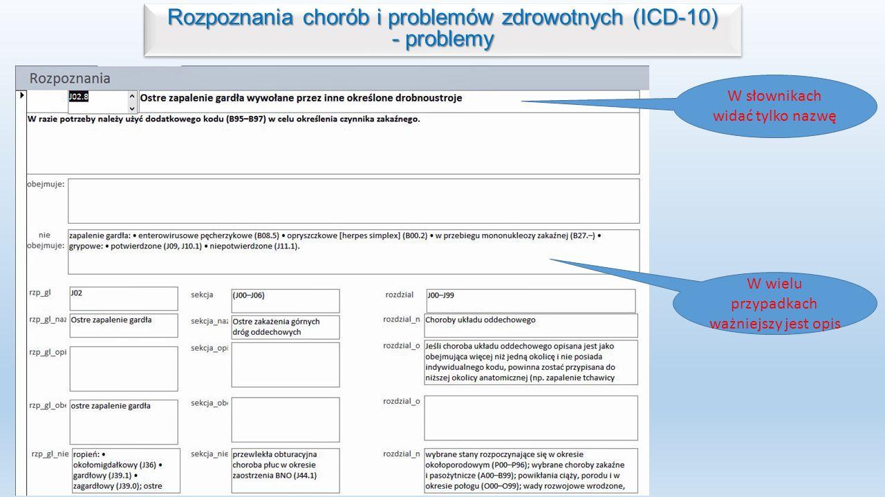 Rozpoznania chorób i problemów zdrowotnych (ICD-10) - problemy
