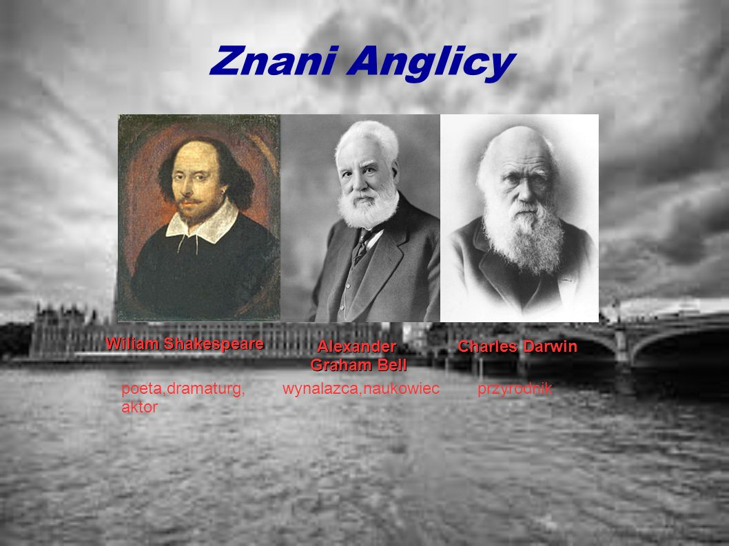 Znani Anglicy Wiliam Shakespeare Alexander Graham Bell Charles Darwin