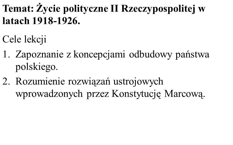 Temat: Życie polityczne II Rzeczypospolitej w latach 1918-1926.