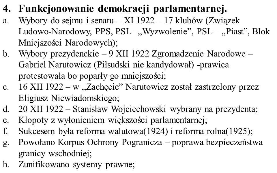 4. Funkcjonowanie demokracji parlamentarnej.
