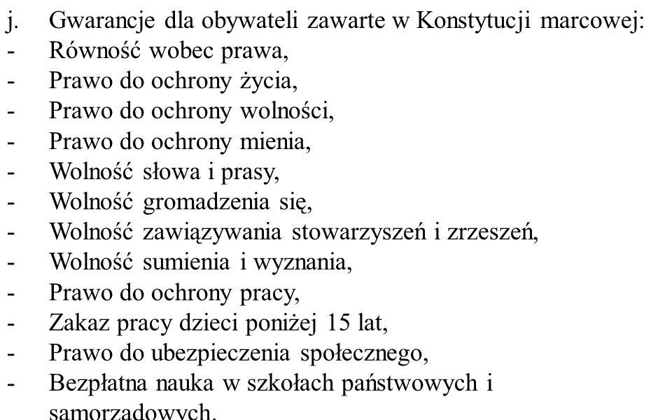 Gwarancje dla obywateli zawarte w Konstytucji marcowej: