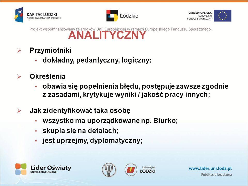 ANALITYCZNY Przymiotniki dokładny, pedantyczny, logiczny; Określenia