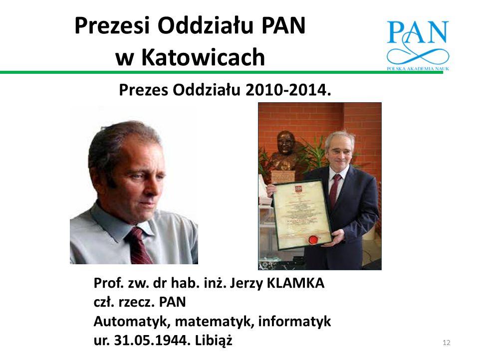 Prezesi Oddziału PAN w Katowicach