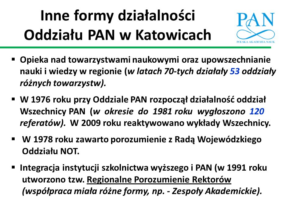 Inne formy działalności Oddziału PAN w Katowicach