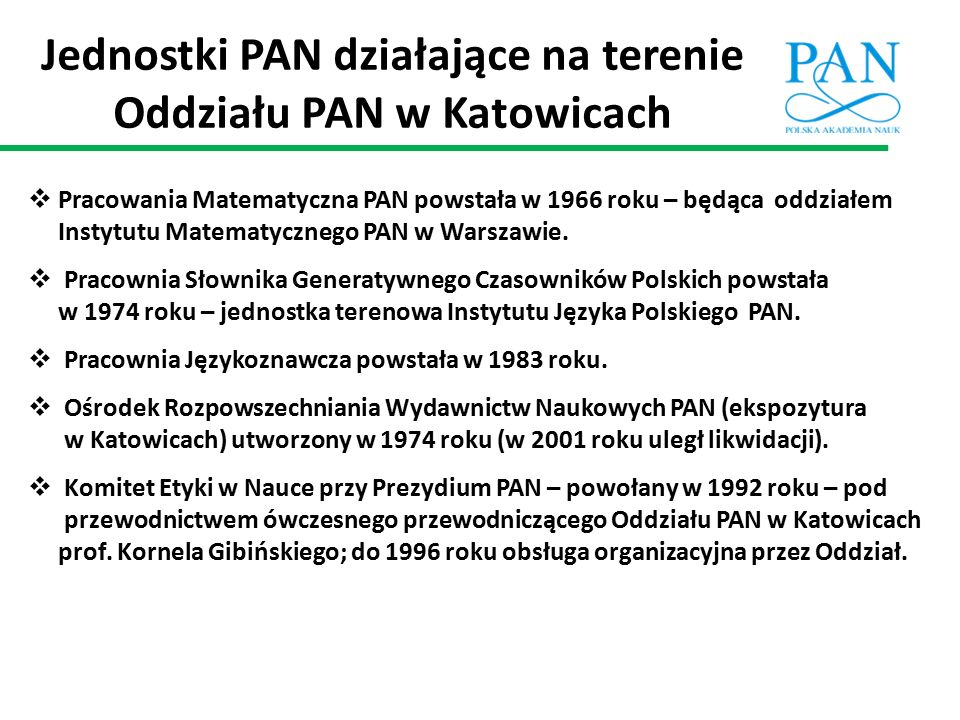 Jednostki PAN działające na terenie Oddziału PAN w Katowicach