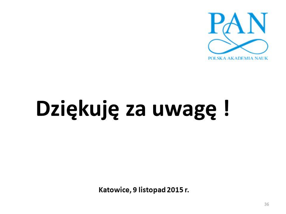 Dziękuję za uwagę ! Katowice, 9 listopad 2015 r.