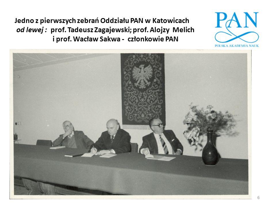 Jedno z pierwszych zebrań Oddziału PAN w Katowicach od lewej : prof