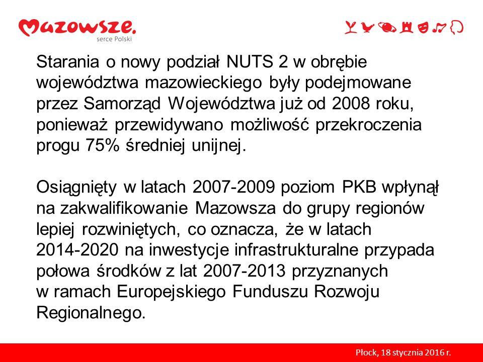 Starania o nowy podział NUTS 2 w obrębie województwa mazowieckiego były podejmowane przez Samorząd Województwa już od 2008 roku, ponieważ przewidywano możliwość przekroczenia progu 75% średniej unijnej. Osiągnięty w latach 2007-2009 poziom PKB wpłynął na zakwalifikowanie Mazowsza do grupy regionów lepiej rozwiniętych, co oznacza, że w latach 2014-2020 na inwestycje infrastrukturalne przypada połowa środków z lat 2007-2013 przyznanych w ramach Europejskiego Funduszu Rozwoju Regionalnego.