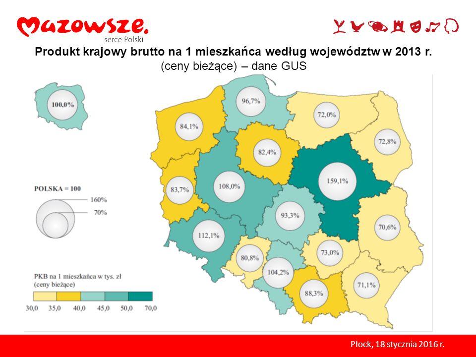 Produkt krajowy brutto na 1 mieszkańca według województw w 2013 r