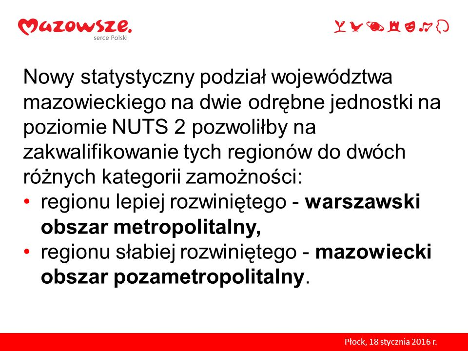 regionu lepiej rozwiniętego - warszawski obszar metropolitalny,
