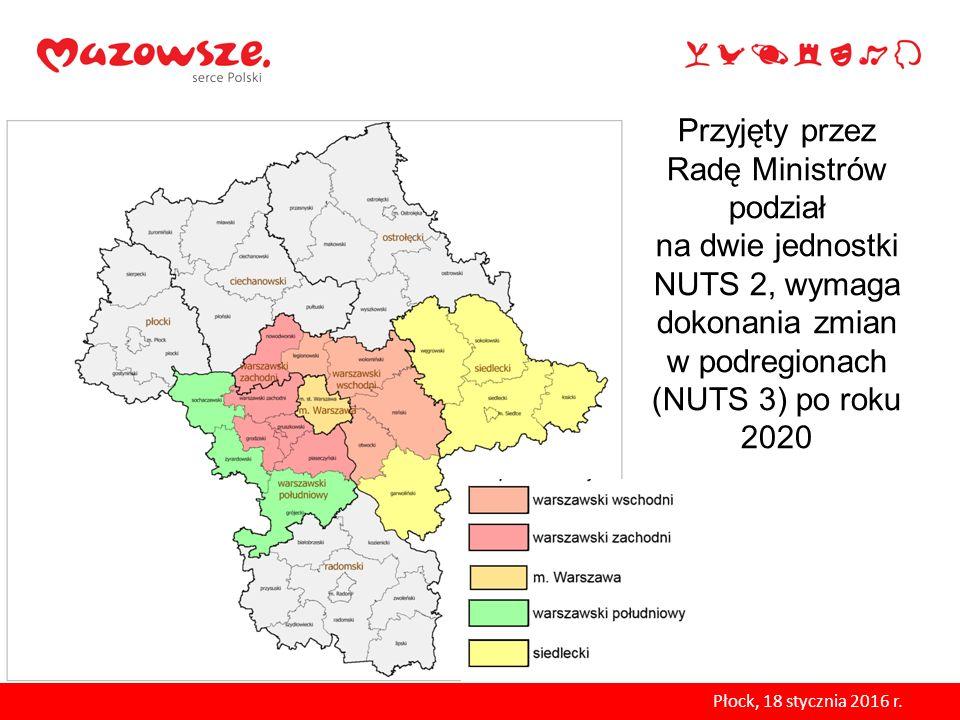 Przyjęty przez Radę Ministrów podział na dwie jednostki NUTS 2, wymaga dokonania zmian w podregionach (NUTS 3) po roku 2020